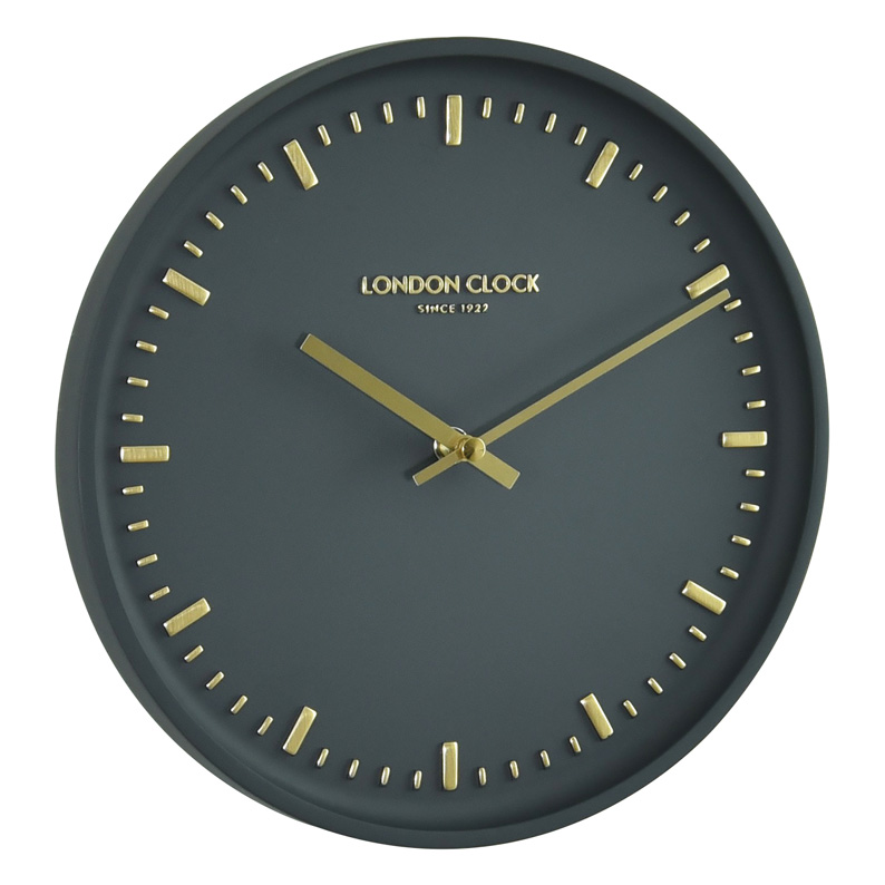 Opulent Grey And Gold Wall Clock