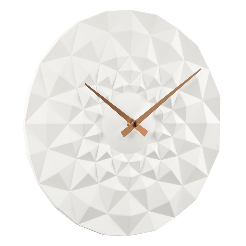 Contemporary Faceted Wall Clock In White Resin