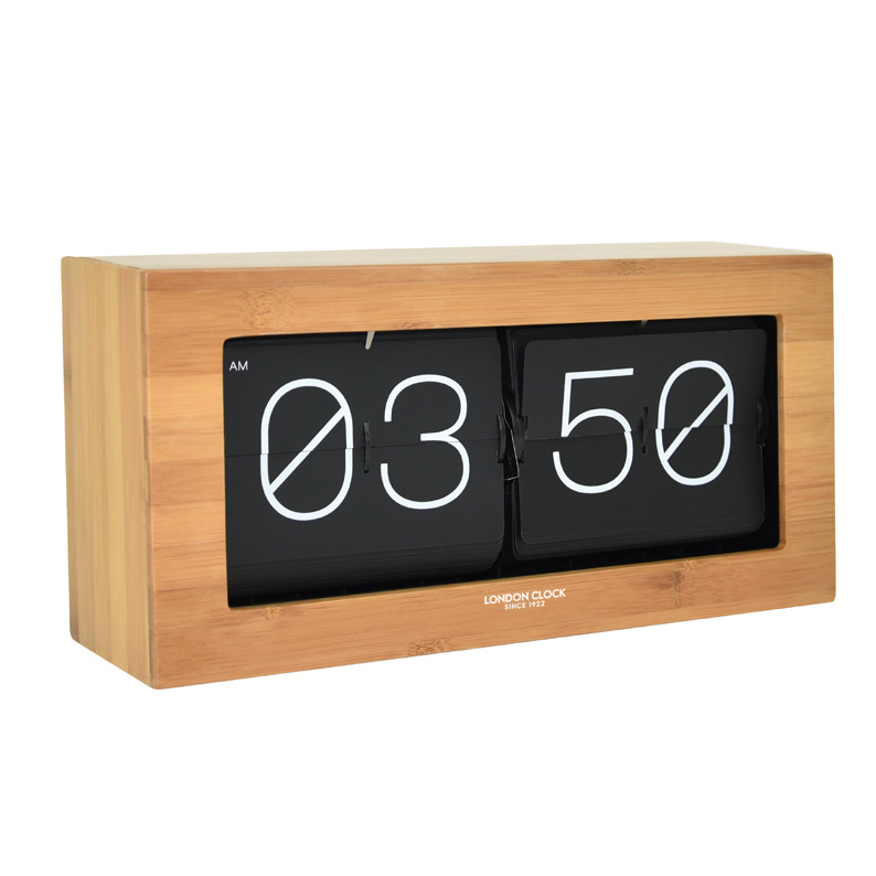 STUNNING WOOD VENEER FLIP DESK CLOCK