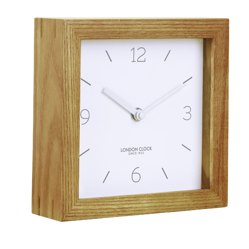 Square Standing Clock With Wood Case