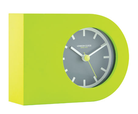 Lime Green Rubberised Mantel Clock With Grey Rim