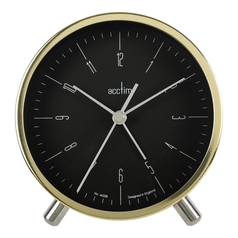 Quartz Alarm Clock In Black And Gold