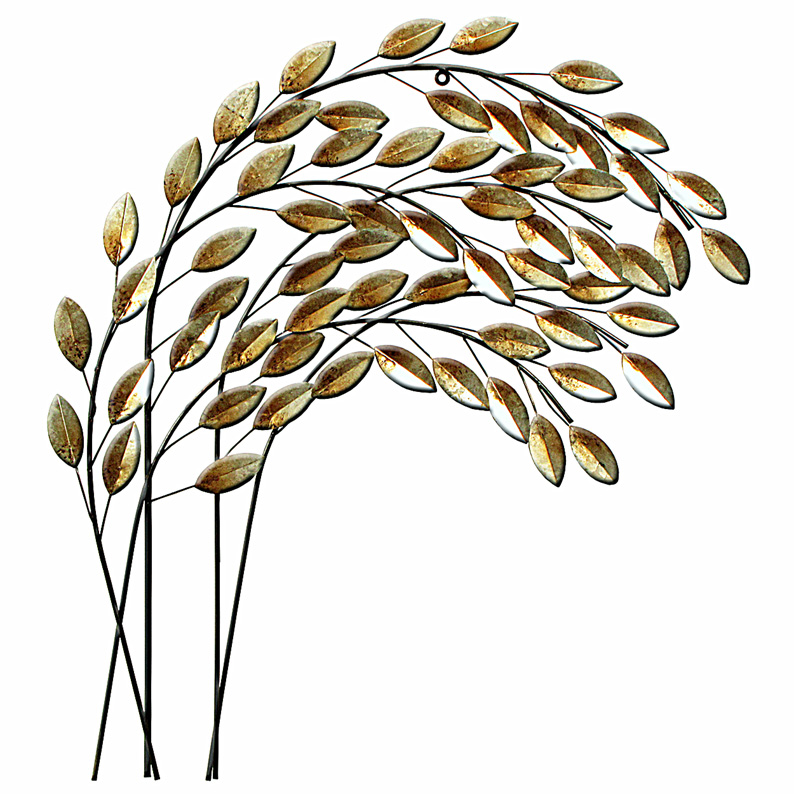 Silver Leaves Blowing In The Wind Metal Wall Art