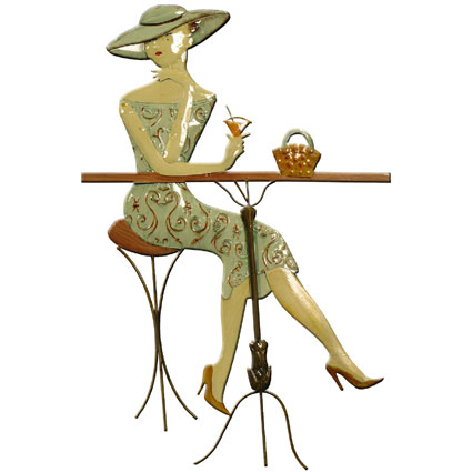 CONTEMPORARY 'COCKTAIL LADY' METAL WALL ART