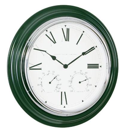 Large deep green indoor outdoor wall clock for Green wall clocks uk