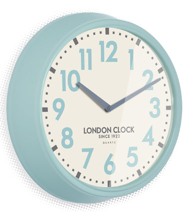 RETRO LIGHT BLUE FINISH CHUNKY WALL CLOCK