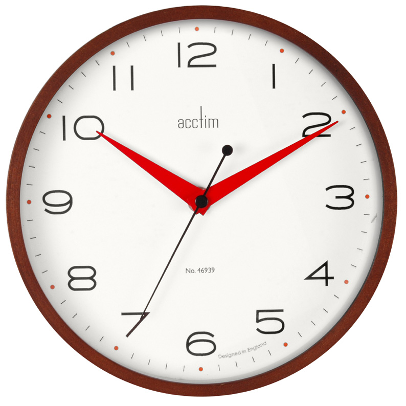 Round Dark Wood Wall Clock With Red Hands