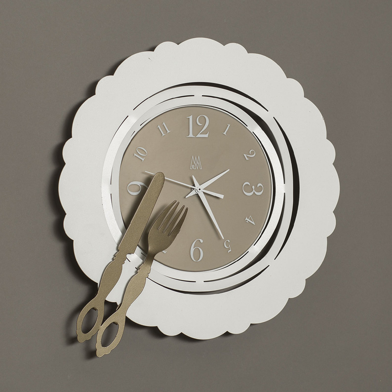 TIME ON A PLATE KITCHEN WALL CLOCK