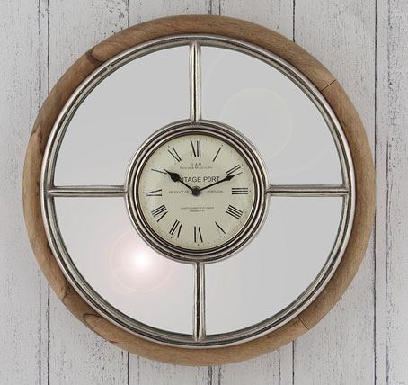 Contemporary Mango Wood Amp Nickel Metal Wall Clock