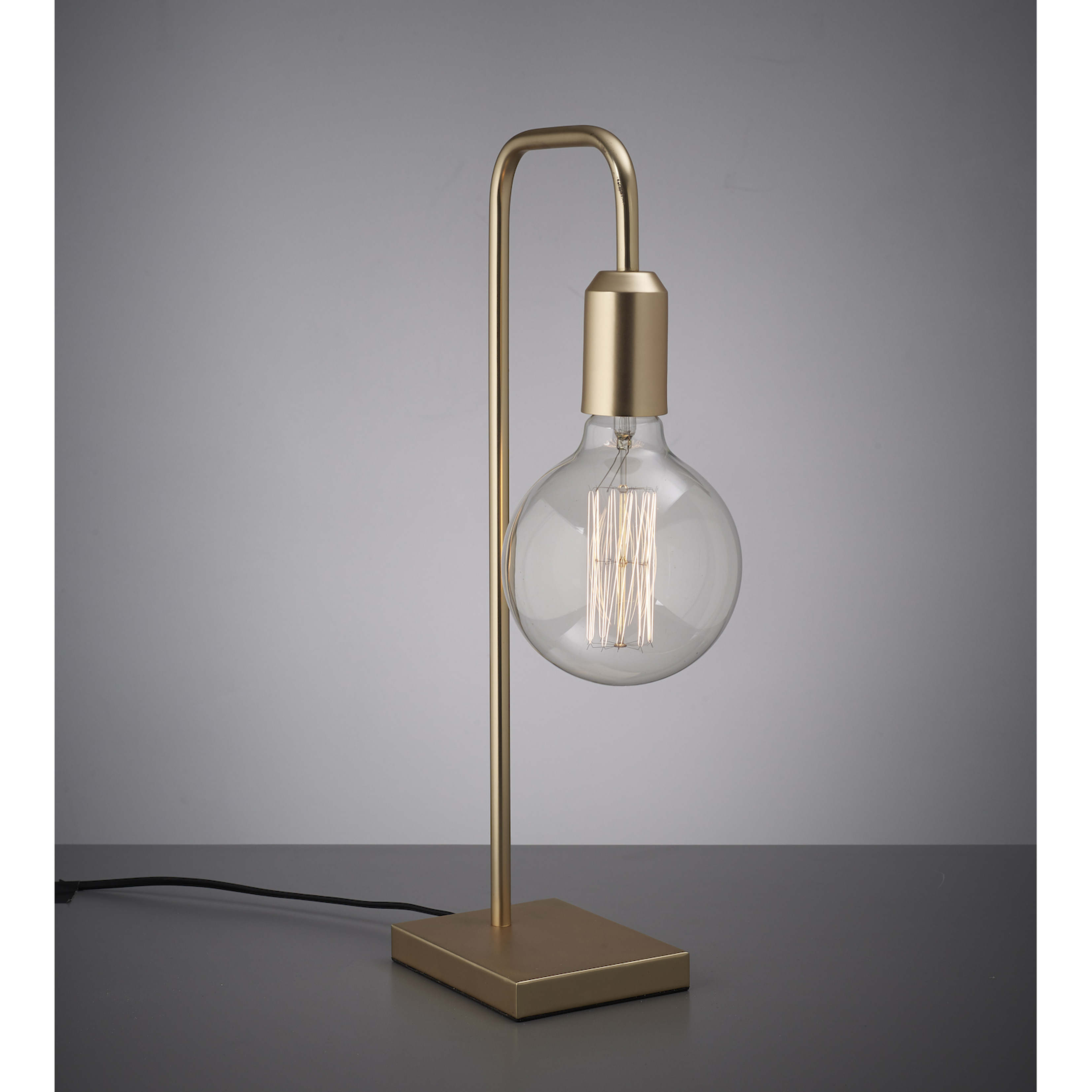 Golden table lamp with round globe bulb aloadofball Images