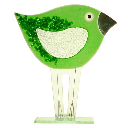 LARGE GREEN BIRD FUSED GLASS TABLE ART