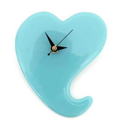 funky heart glass wall clock