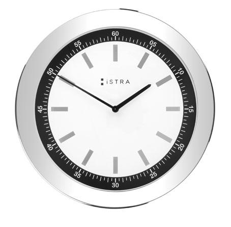 WHITE STAINLESS STEEL CLOCK WITH SILVER ACCENTS