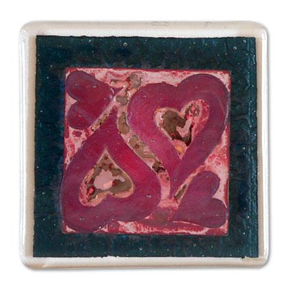 Mixed Hearts Handmade Glass Coaster