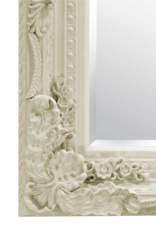 Ornate Shabby Chic Style Framed Mirror In Cream 175x90cm