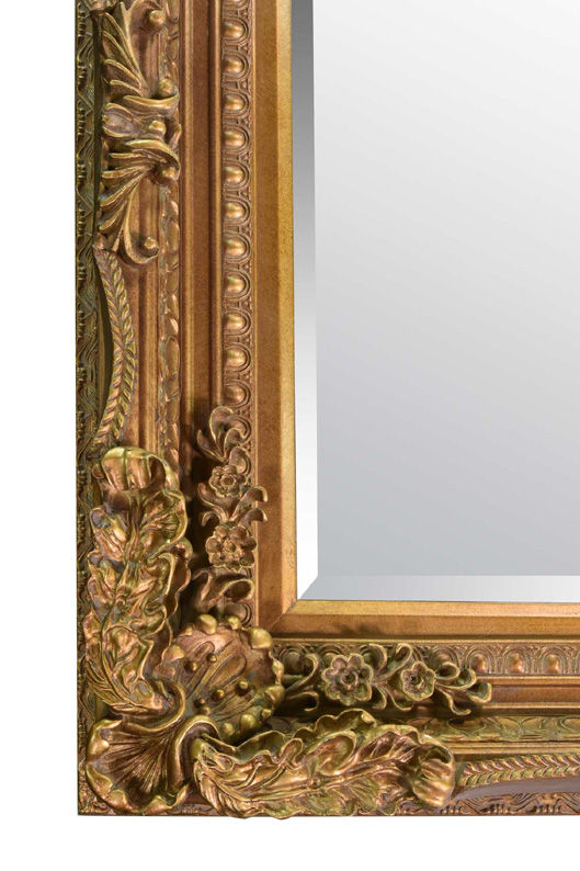 Ornate Shabby Chic Style Framed Mirror In Gold 175x90cm