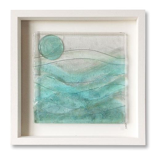 Box Framed Fused Seascape Glass Artwork