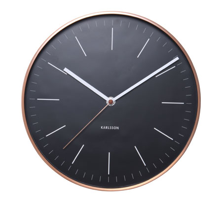 Minimalist Wall Clock In Black And Copper