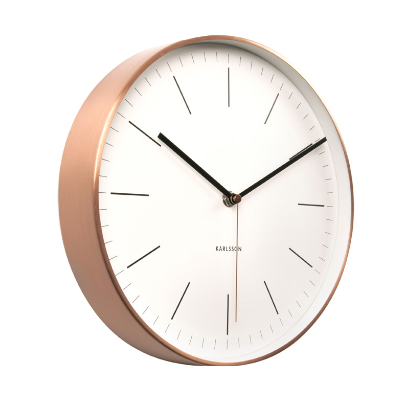 Minimal Look Wall Clock In Copper And White