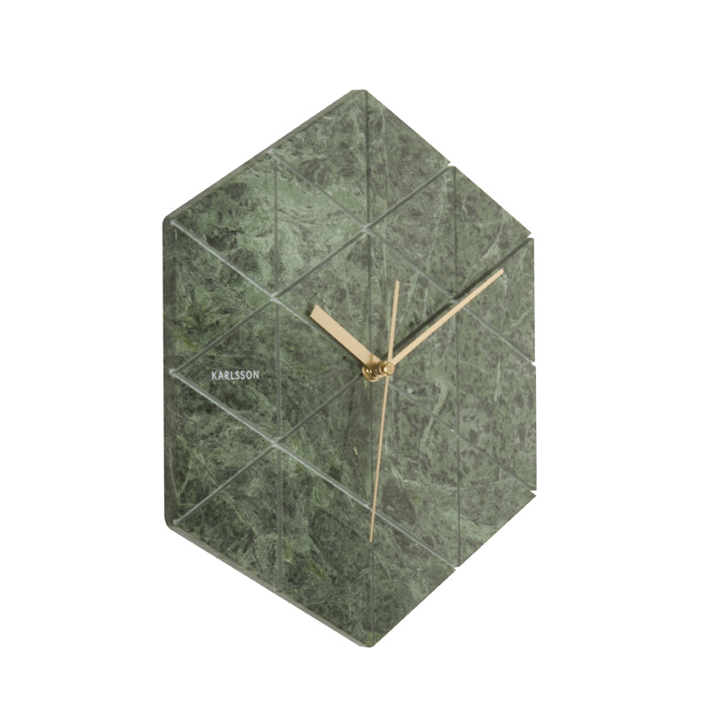 Unique Geometric Green Marble Wall Clock
