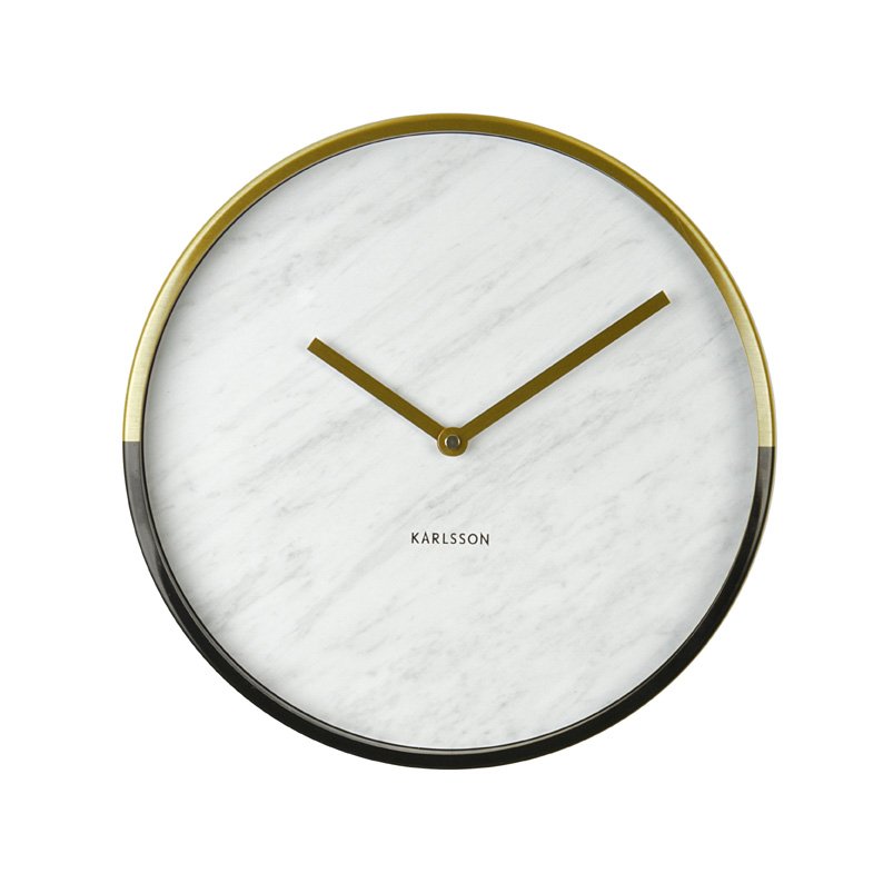 White Marble Wall Clock With Gold And Black Border