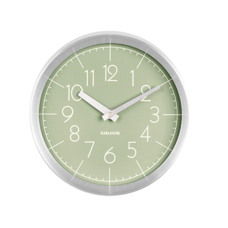 Pastel Green Brushed Aluminium Wall Clock
