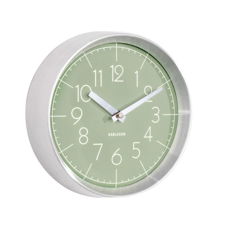 Pastel green brushed aluminium wall clock for Green wall clocks uk