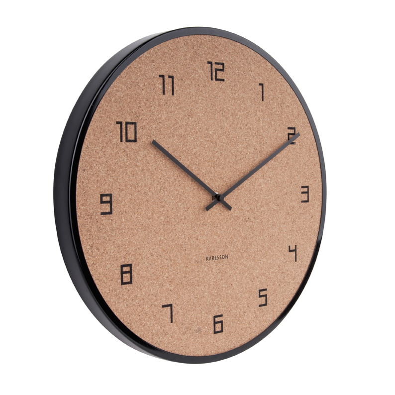 CONTEMPORARY CORK WALL CLOCK WITH BLACK CASE