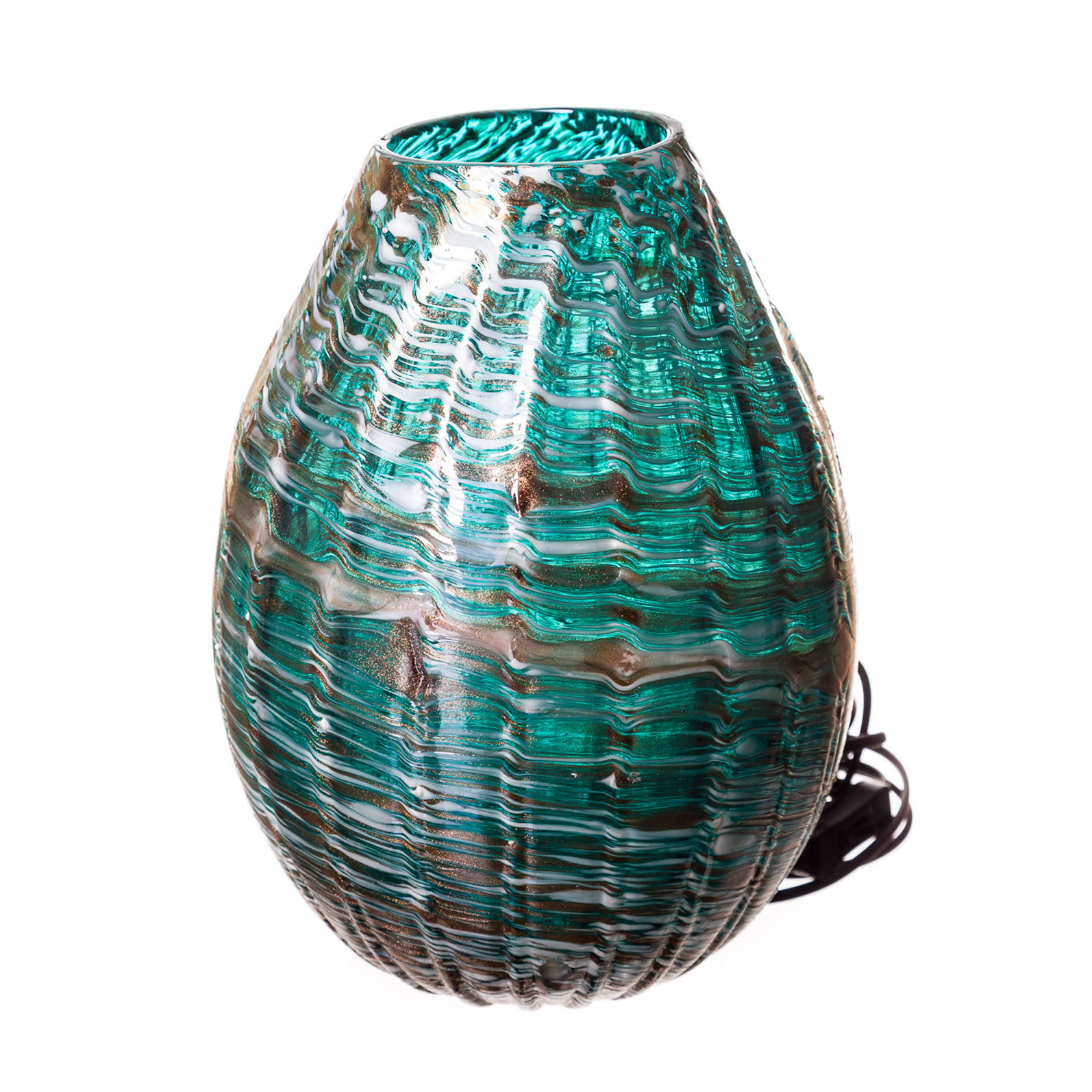 Turquoise And White Hand Blown Glass Lamp