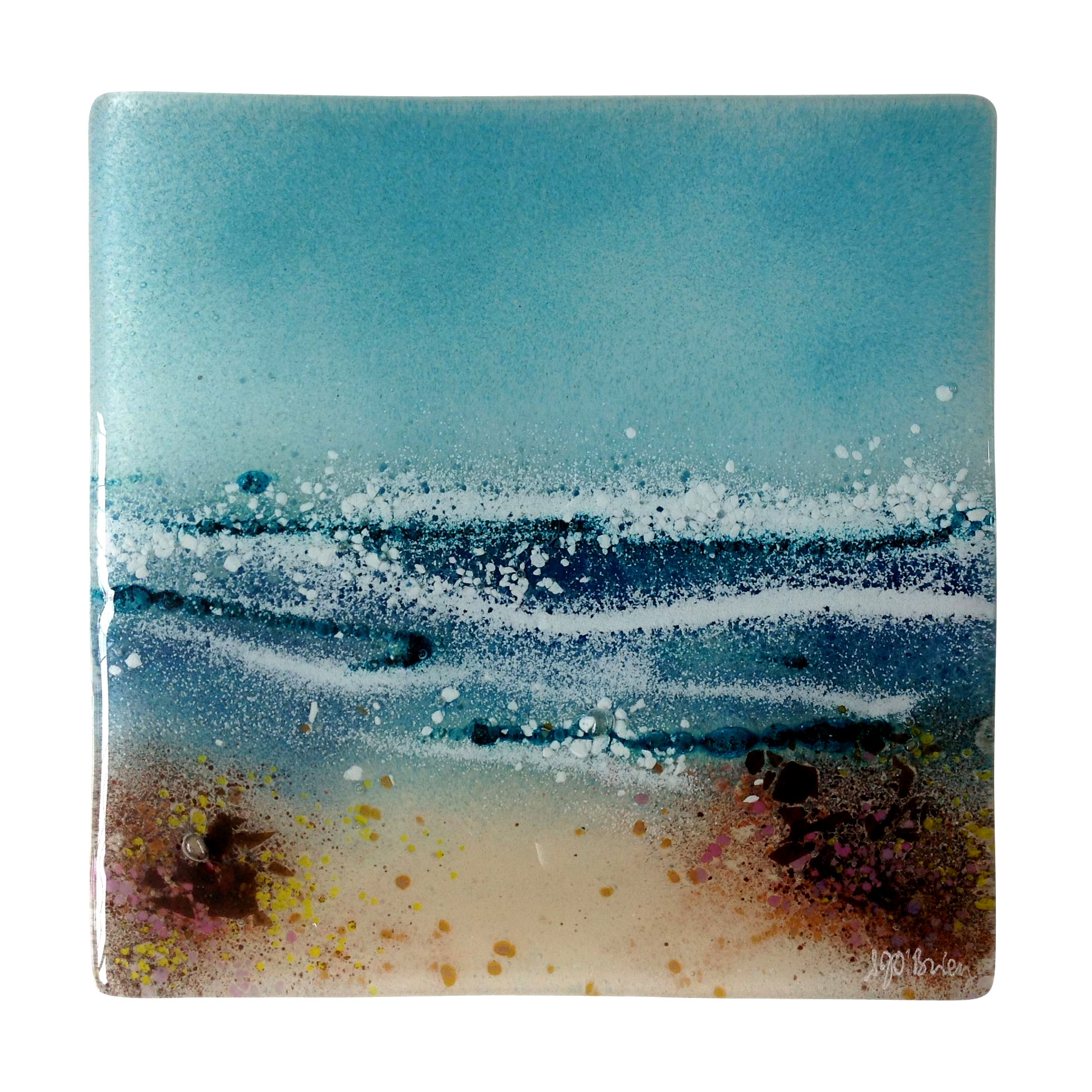 Sand And Sea Fused Glass Wall Panel
