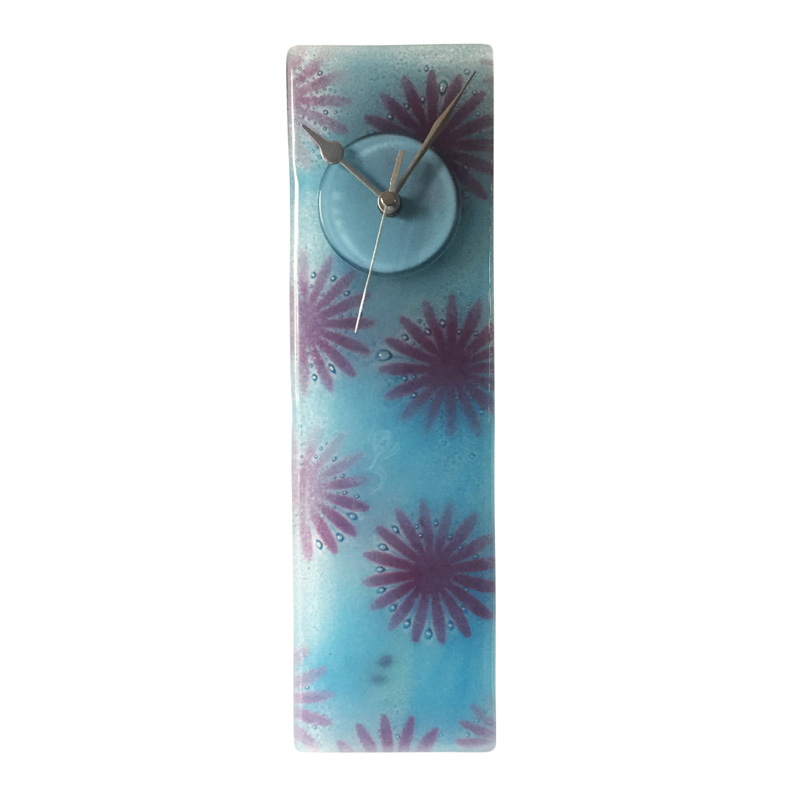 Purple And Blue Designer Fused Glass Wall Clock