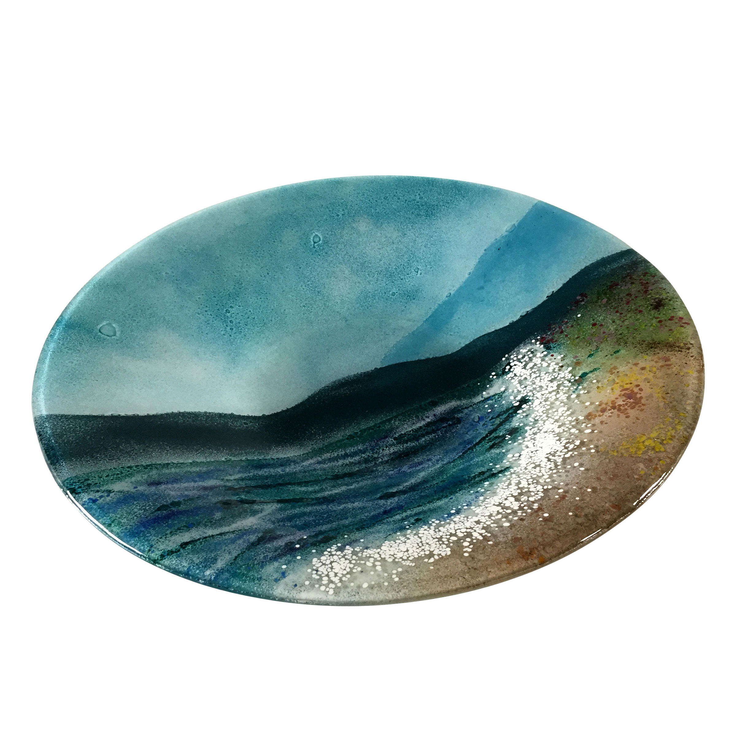 Large Seashore Fused Glass Bowl