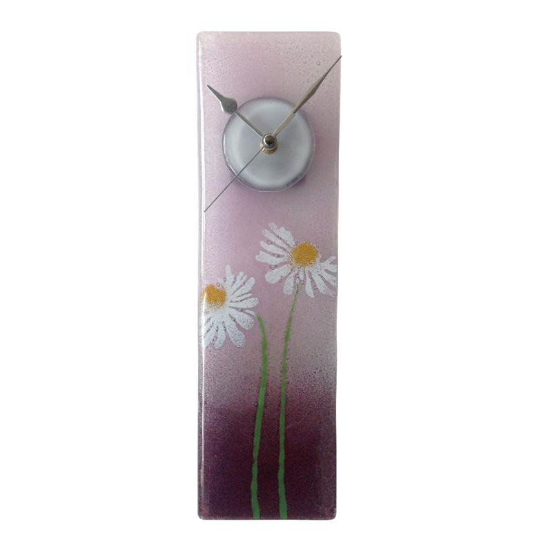 purple daisy fused glass wall clock