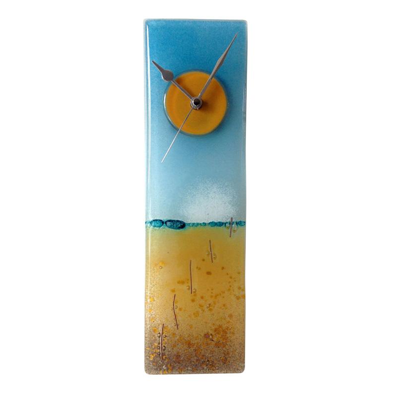 sandy beach fused glass wall clock