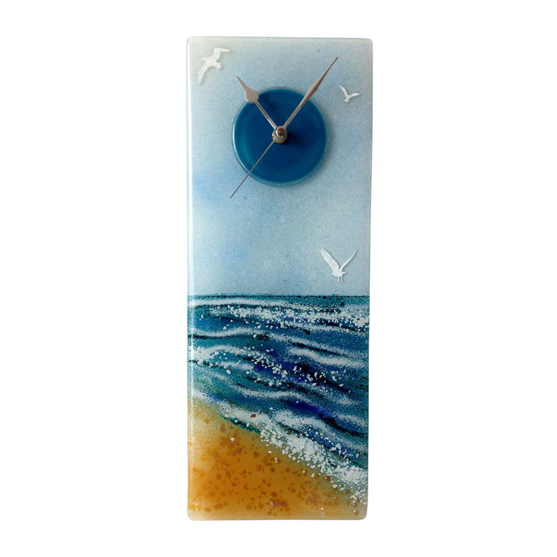 Row Of Beach Huts Curved Fused Glass Table Clock