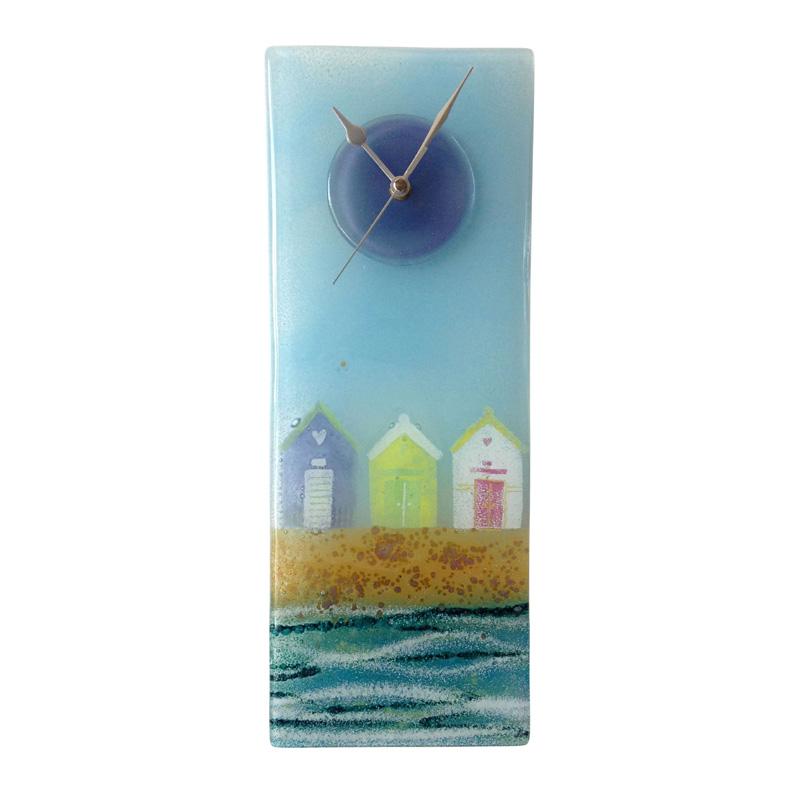 row of beach huts fused glass wall clock
