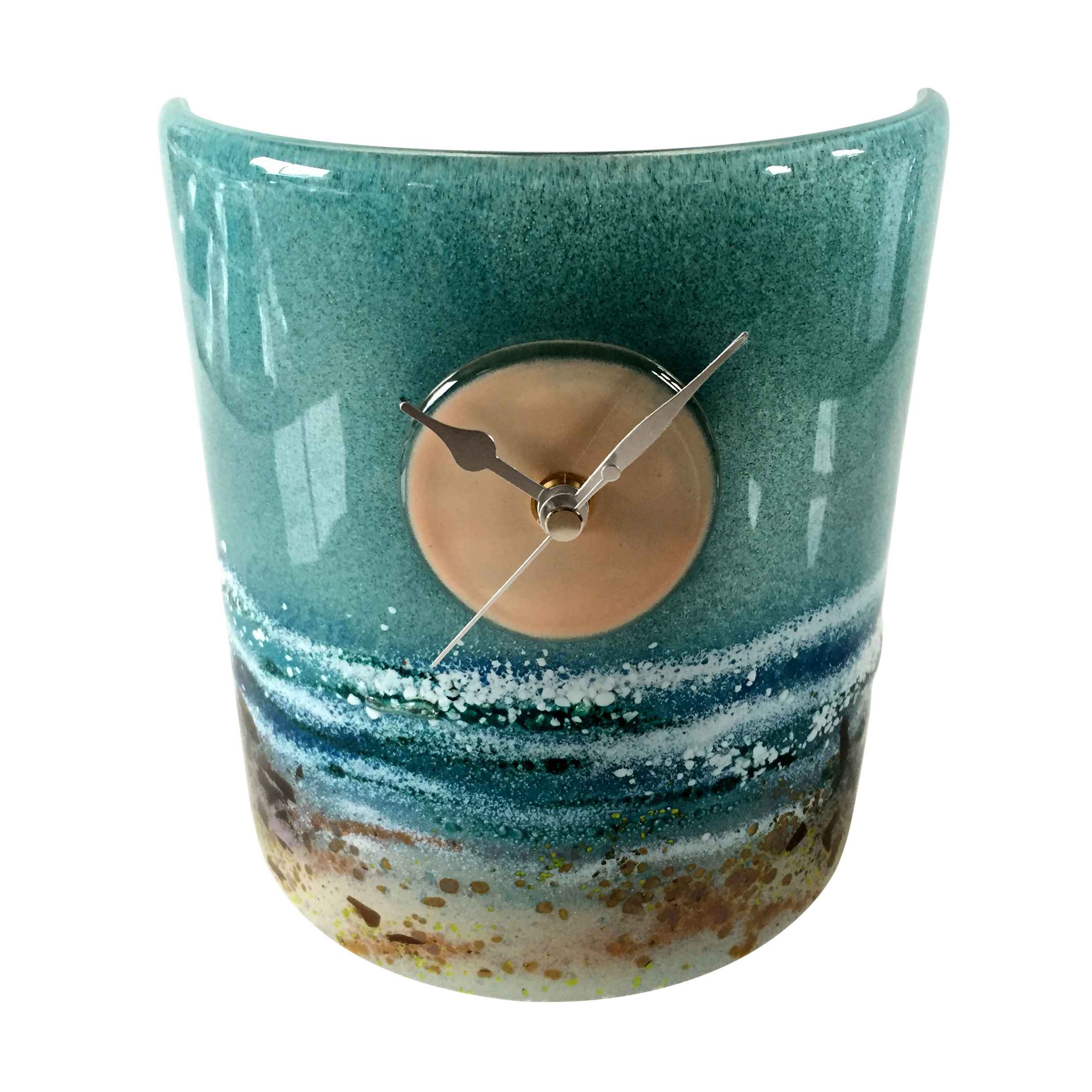 Row of beach huts curved fused glass table clock - Sandy Beach Walk Curved Fused Glass Table Clock