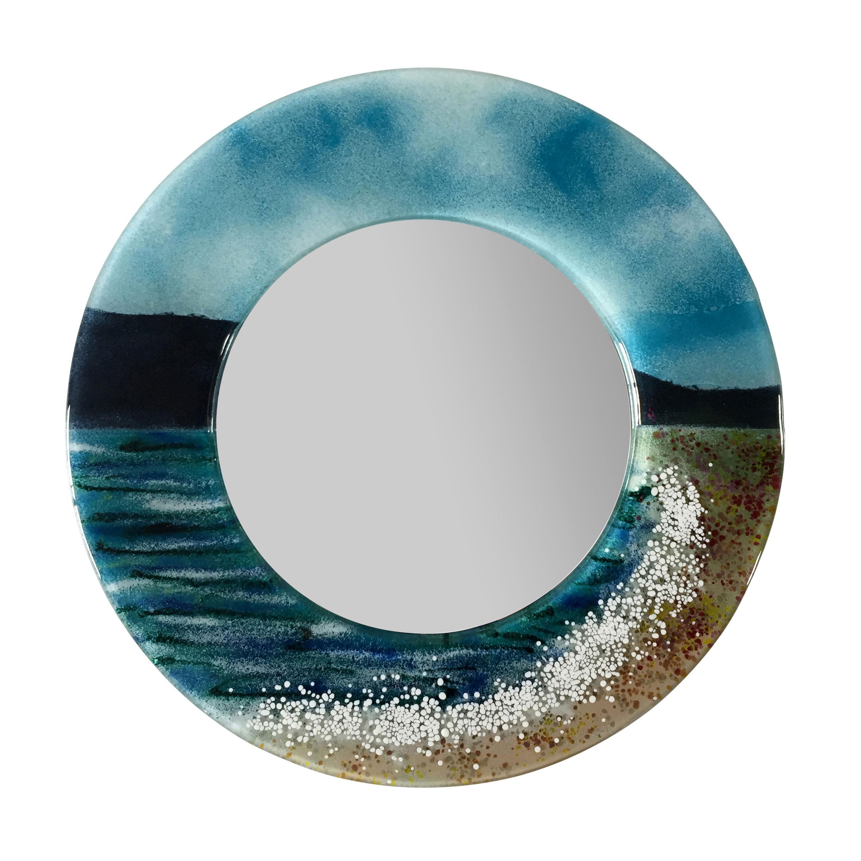 Large Seashore Fused Glass Wall Mirror