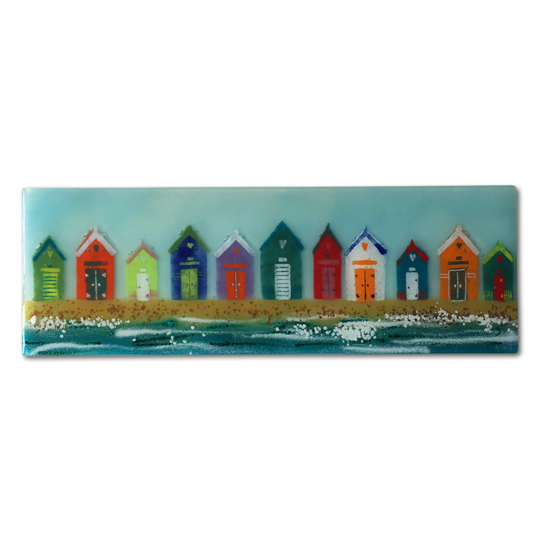 Colourful Beach Hut Fused Glass Panel