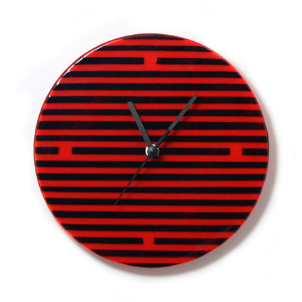 Red and black retro stripes wall clock for Red and black wall clock