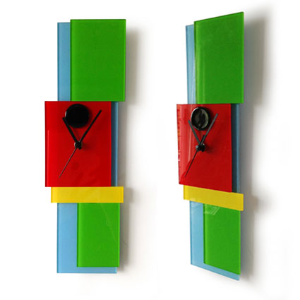 Multi Colours Layered Shapes Fused Glass Wall Clock