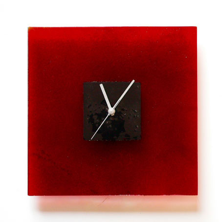 RED AND BLACK HOOPS GLASS WALL CLOCK