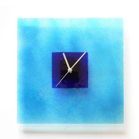 Aqua And Blue Hoops Glass Wall Clock