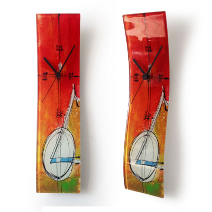 abstract design red fused glass wall clock