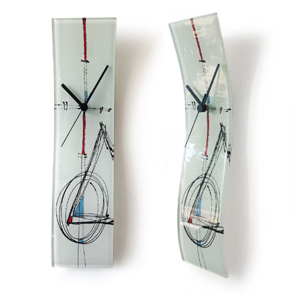 white and abstract design fused glass wall clock