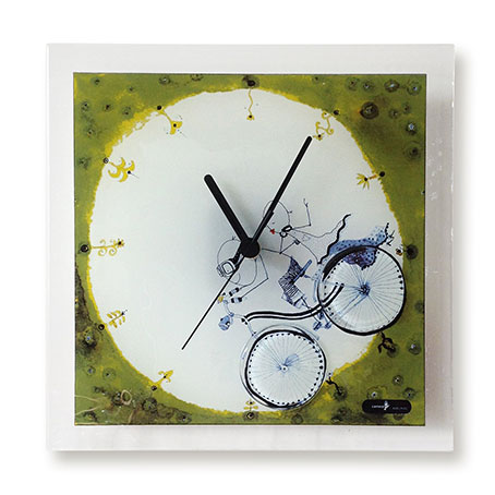 Print design fused glass wall clock for Fused glass wall clocks