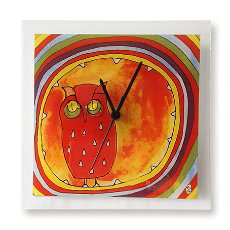 Print Design Fused Glass Wall Clock