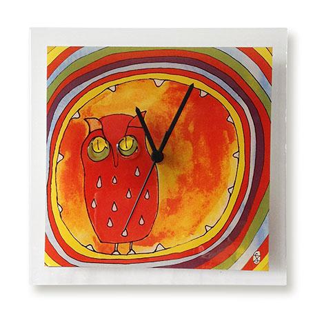 Print Design Fused Glass Wall Clock