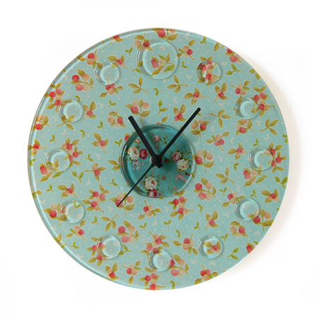 vintage style fabric backed fused glass wall clock