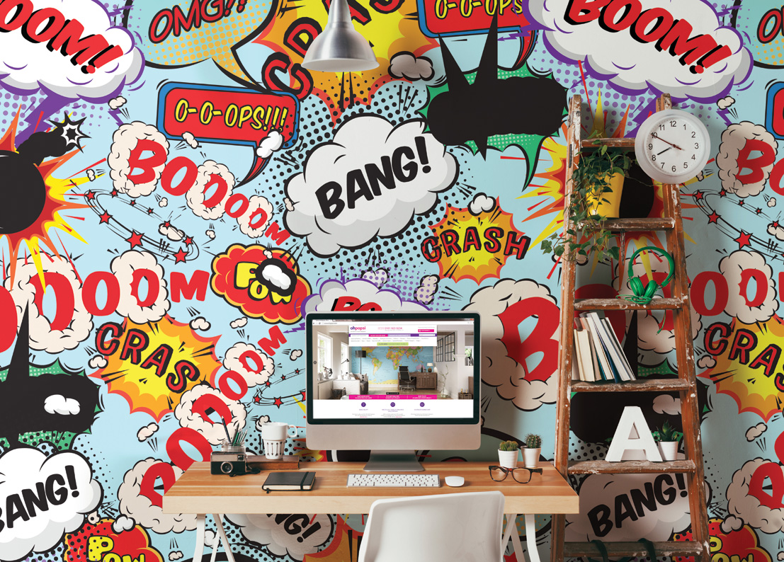 Comic Explosion Pop Art Style Writing Wall Mural
